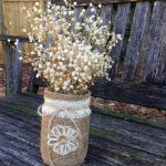 Click image to see Burlap Centerpiece ideas