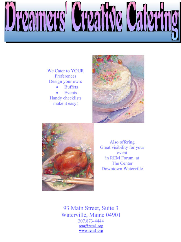 Dreamers' Creative Catering Brochure pg1