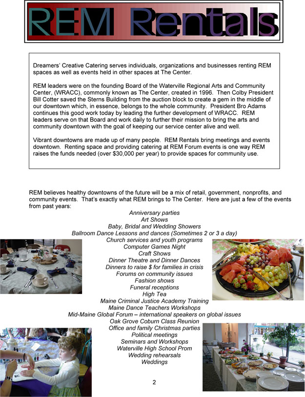 Dreamers' Creative Catering Brochure pg2