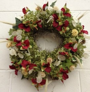 Wreath created by Carol George for REM Craft Fair 2013