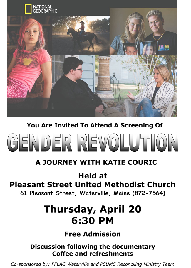 Screening of Gender Revolution, A Journey with Catie Couric,  Discussion following the documentary.