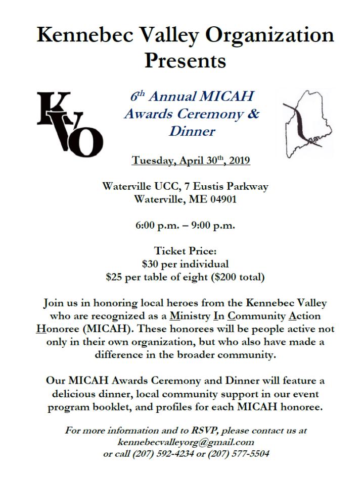 Kennebec Valley Organization MICAH Awards, RSVP kennebecvalleyorg@gmail.com or (207)592-4234 or (207)577-5504