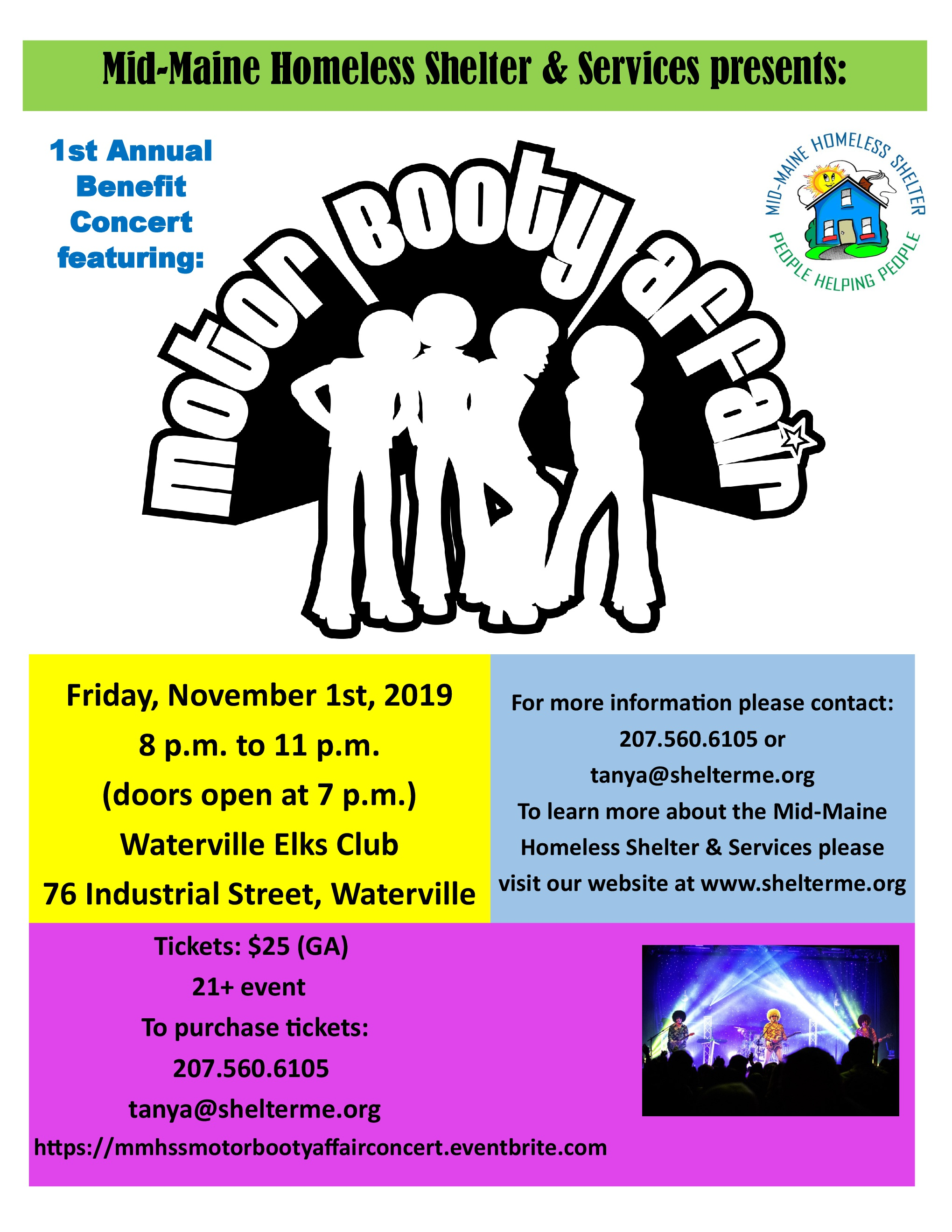 Benefit Concert for Mid-Maine Homeles Shelter & Services. For tickets, call 207-560-6105